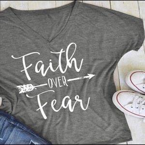 2/$25 M & XL Faith Over Arrow Fear Shirt